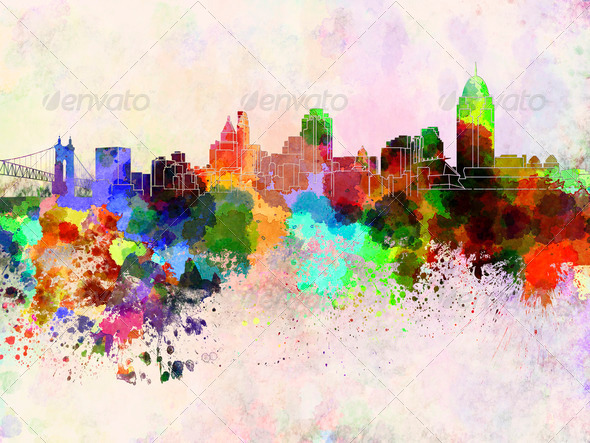 Cincinnati skyline in watercolor background - Stock Photo - Images
