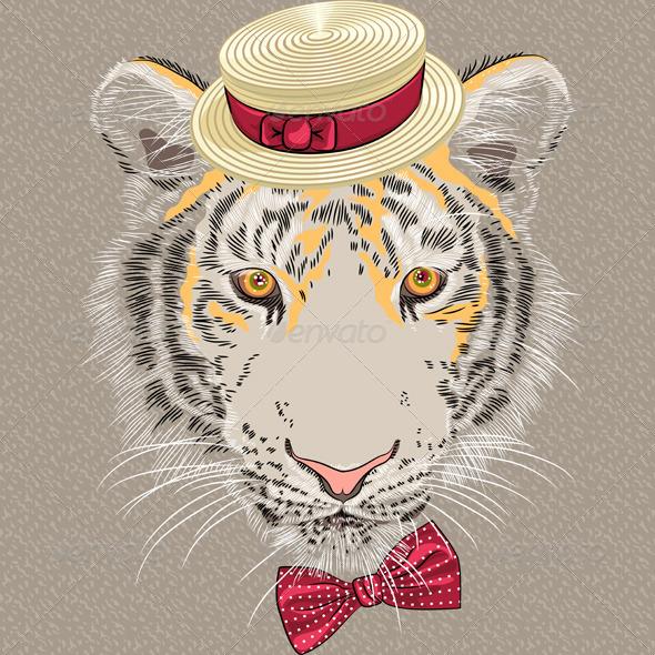 Cartoon Hipster Tiger