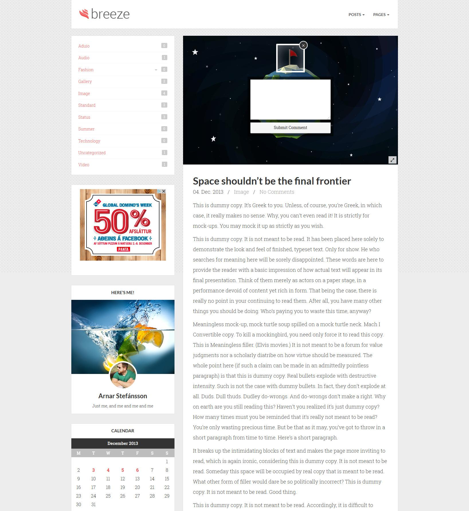 Breeze   Minimalist Responsive Personal Blog
