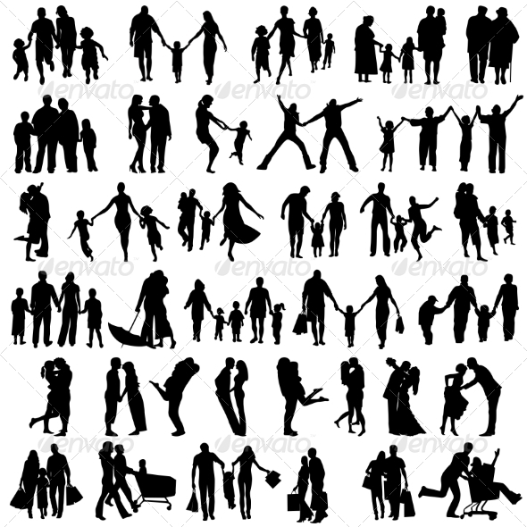 GraphicRiver Family Silhouettes 6827583