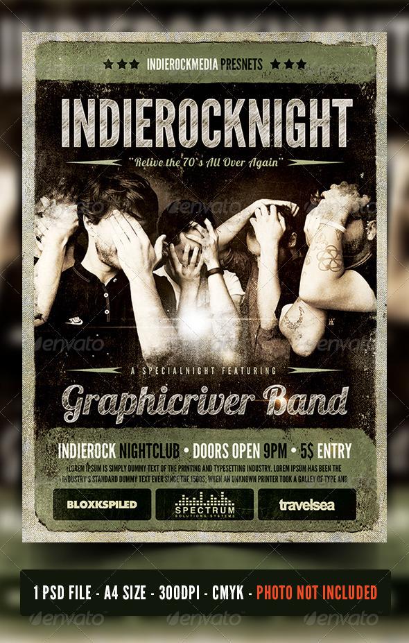 GraphicRiver Rock Indierock Vintage Concert Flyer Poster 6827624