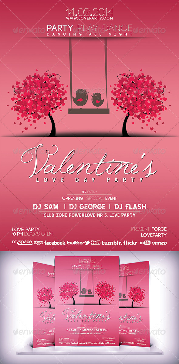 GraphicRiver Valentines Day Party Flyer 6827790