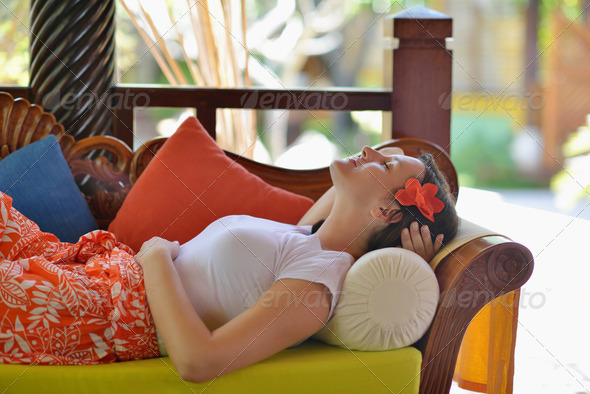 spa treatment at tropical resort - Stock Photo - Images