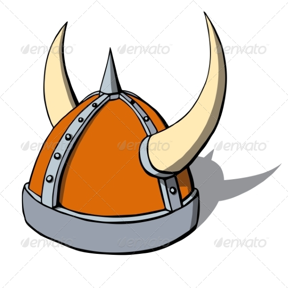 GraphicRiver Cartoon Viking Helmet with Horns 6827965