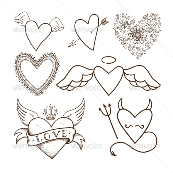 GraphicRiver Collection of Decorative Hearts 6828343