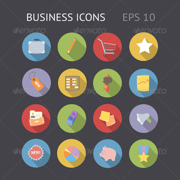 GraphicRiver Flat Icons for Business 6828765