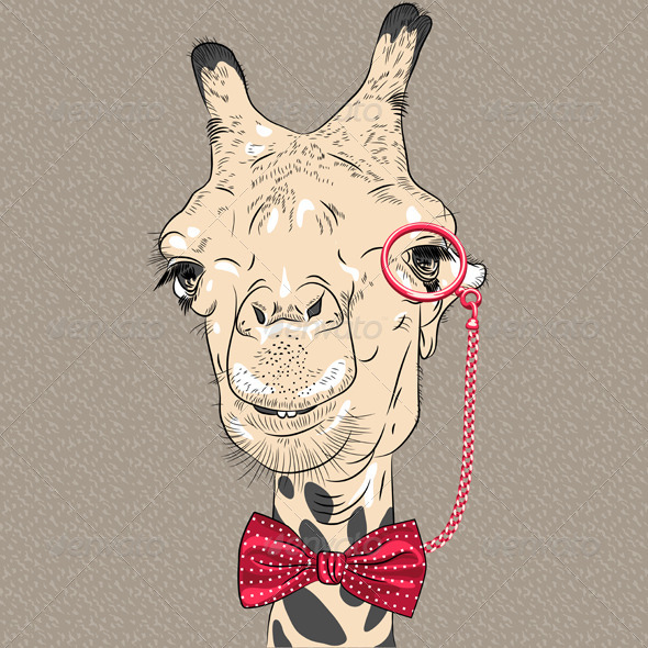 GraphicRiver Closeup Portrait of girafe Hipster 6828789