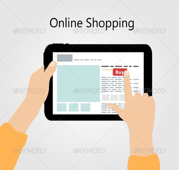 Online Shopping Flat Concept Illustration