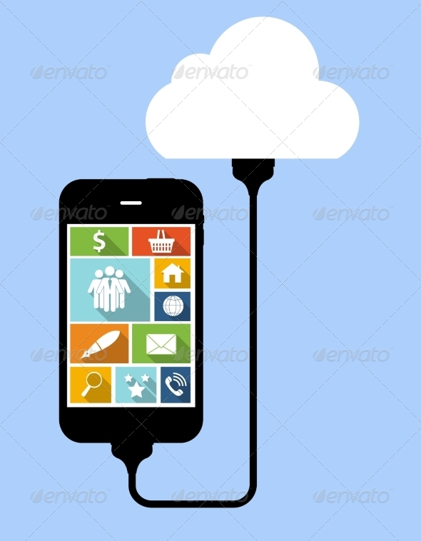 GraphicRiver Cloud Computing Concept on Device 6828814