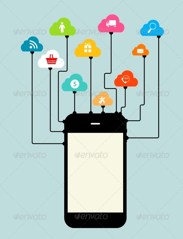GraphicRiver Cloud Computing Concept on Device 6828839