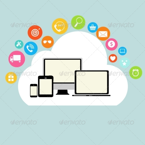 GraphicRiver Cloud Computing Concept on Different Devices 6828844