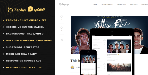 Retina Responsive WordPress Blog - Zephyr - Personal Blog / Magazine