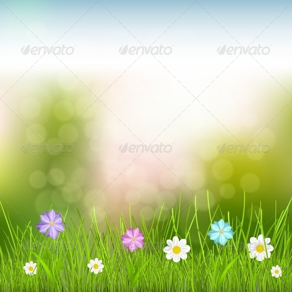 GraphicRiver Background with Sky Grass and Flowers 6828955