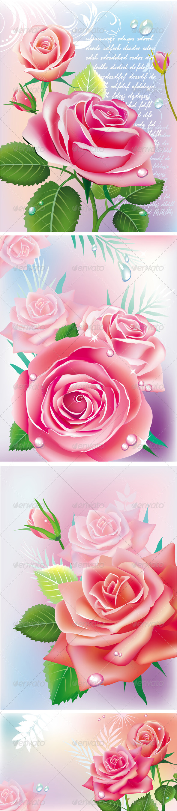 GraphicRiver Set of Cards with Roses 6829176