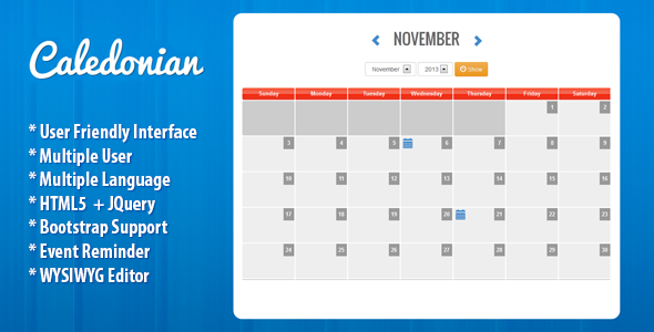 CodeCanyon Caledonian PHP Event Calendar 5997817