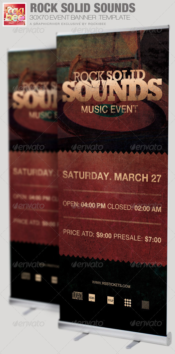 GraphicRiver Rock Solid Sounds Banner Signage Template 6830096
