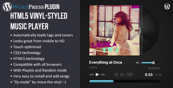 CodeCanyon HTML5 Vinyl Music Player WP Plugin 6830326