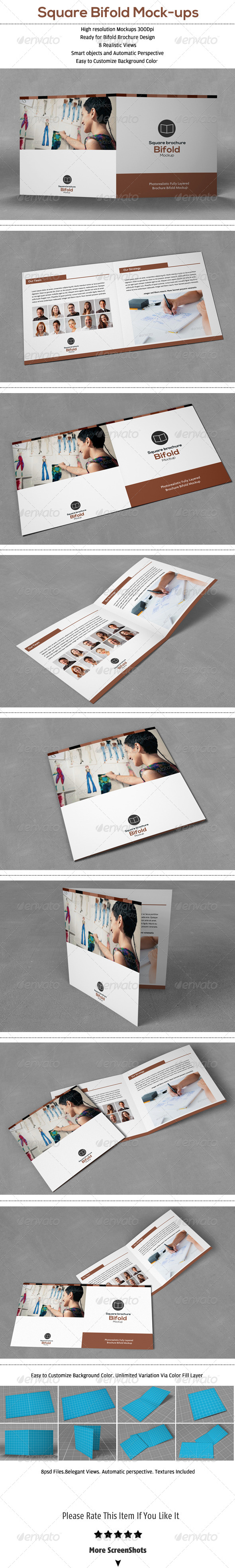 GraphicRiver Square Bifold Brochure Mock-Up 6830426