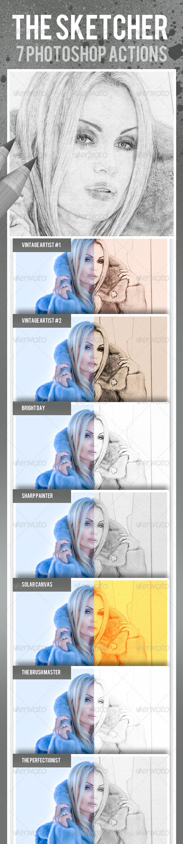 GraphicRiver The Sketcher 7 Photoshop Actions 6830568