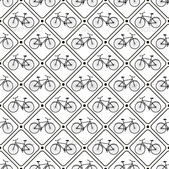 Vector Seamless Retro Bicycle Pattern