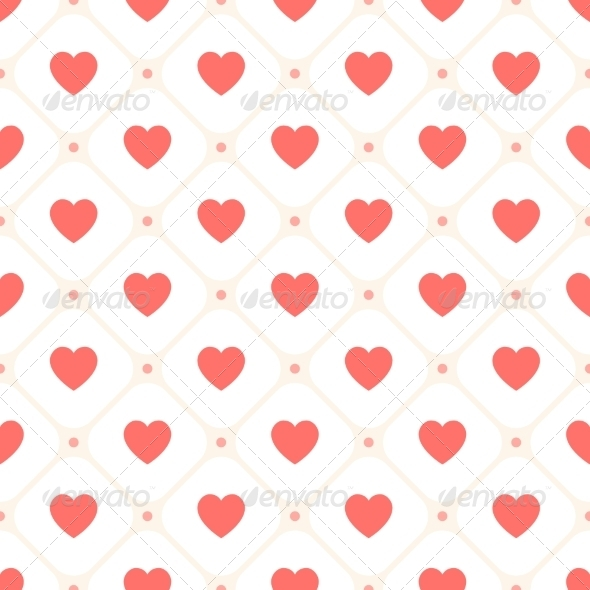 Vector Seamless Retro Pattern with Hearts