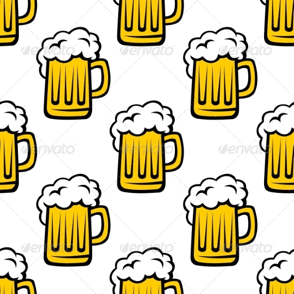 GraphicRiver Seamless Pattern of Tankards with Frothy Beer 6831327