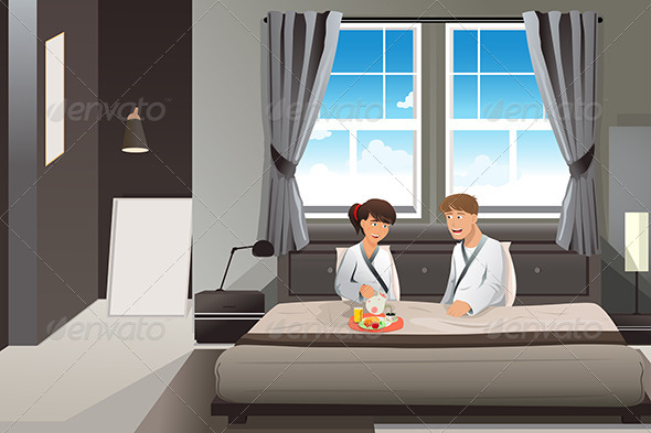 GraphicRiver Couple Having Breakfast in Bed 6831908