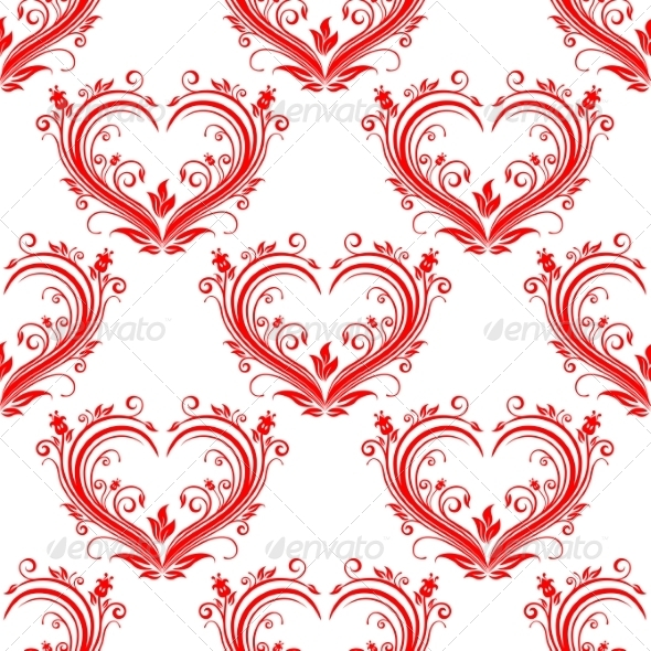 GraphicRiver Seamless Pattern Ornate Floral Hearts 6832685