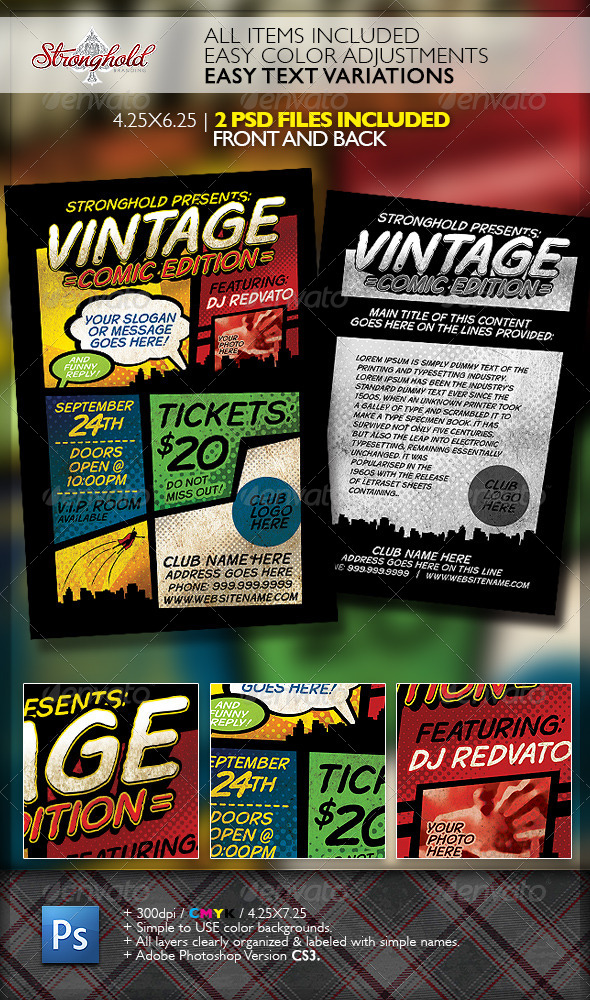 GraphicRiver Vintage Comic Book Event Flyer Template 6833173