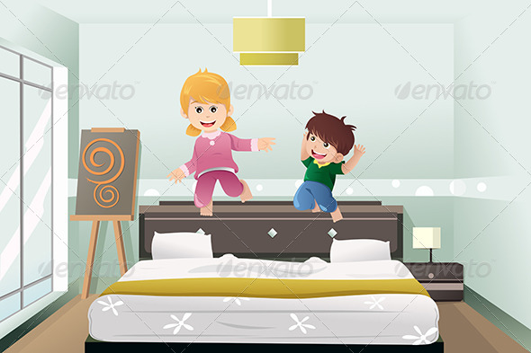 GraphicRiver Kids Jumping on the Bed 6833176