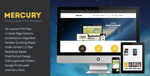 MERCURY - Multipurpose PSD Template - Business Corporate