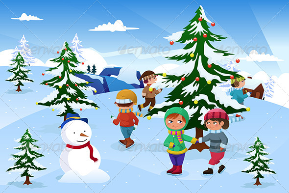 GraphicRiver Kids Skating Around a Christmas Tree 6833826