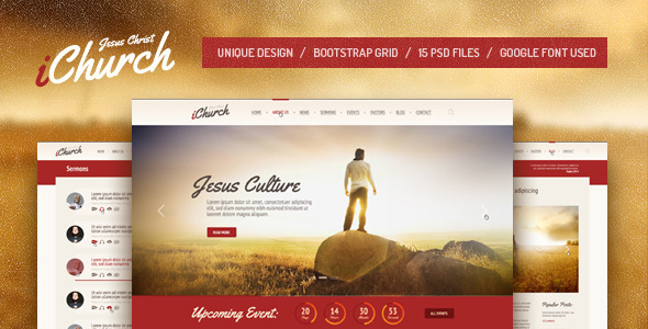 iChurch — PSD Template - Churches Nonprofit