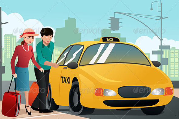 GraphicRiver Couple on Vacation Calling a Taxi 6834060