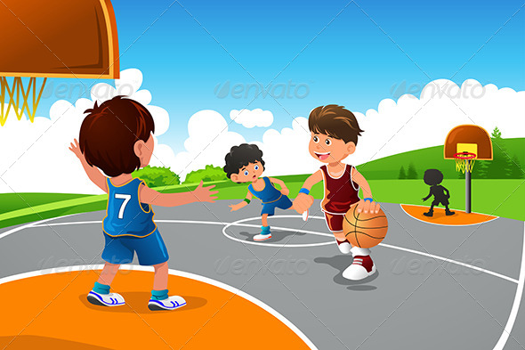 GraphicRiver Kids Playing Basketball in a Playground 6834084