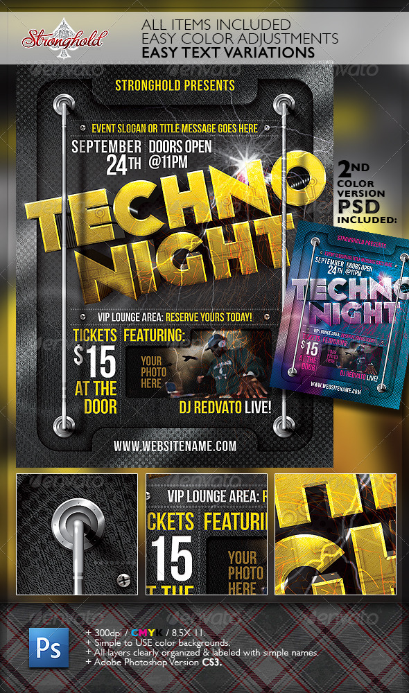 GraphicRiver Techno Night Club Party Flyer Template 6815067
