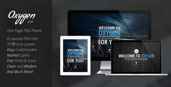 Oxygen One Page PSD Theme - Creative PSD Templates