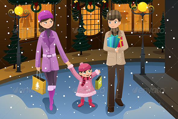 GraphicRiver Family doing Christmas Shopping 6834324