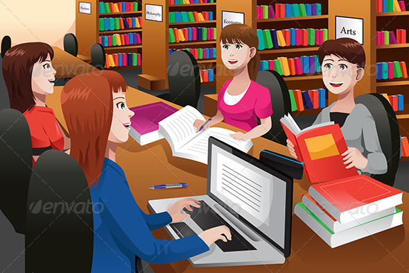 GraphicRiver College Students Studying in a Library 6834425