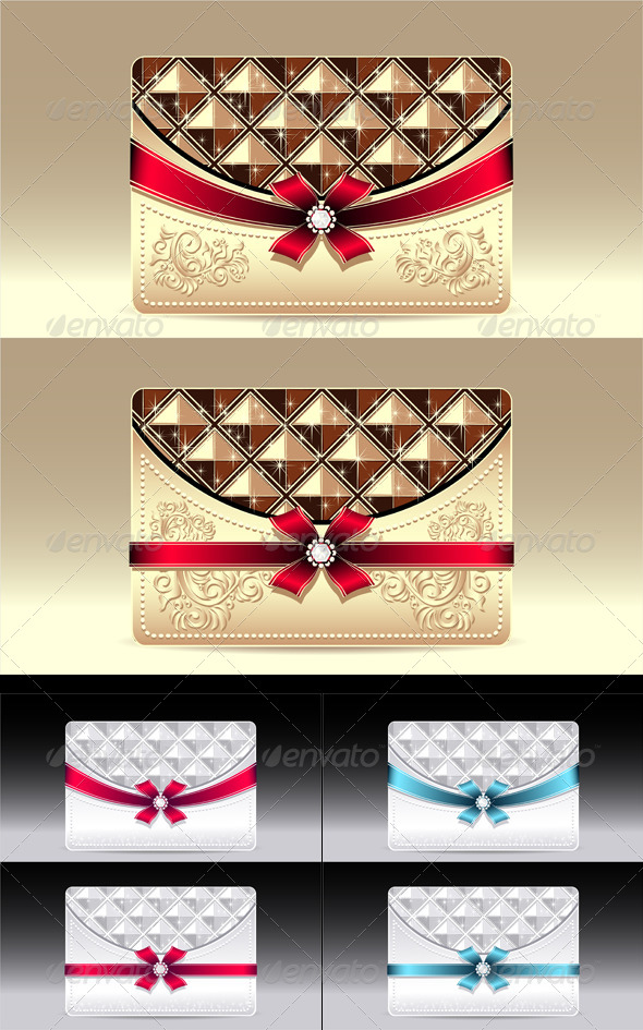 Gift Cards with Geometric Pattern Bow Ribbon