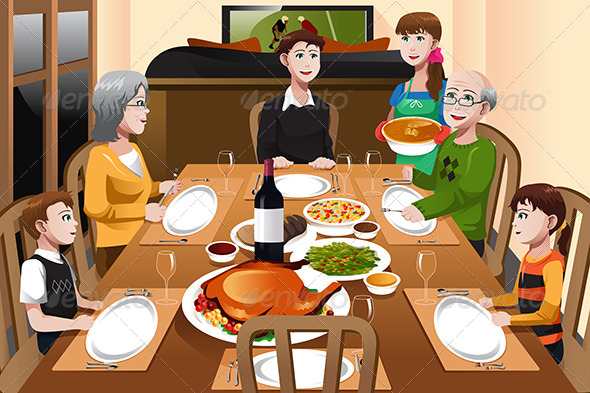 GraphicRiver Family having a Thanksgiving Dinner 6834529