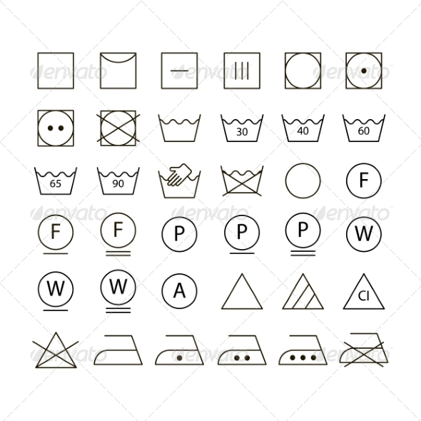GraphicRiver Set of Washing Symbols 6834945