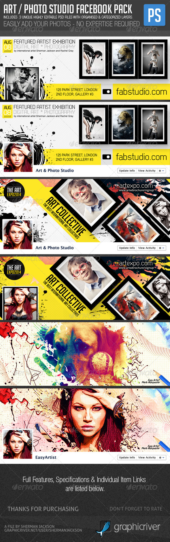 GraphicRiver Art Photo Facebook Cover Premium Pack 6835082