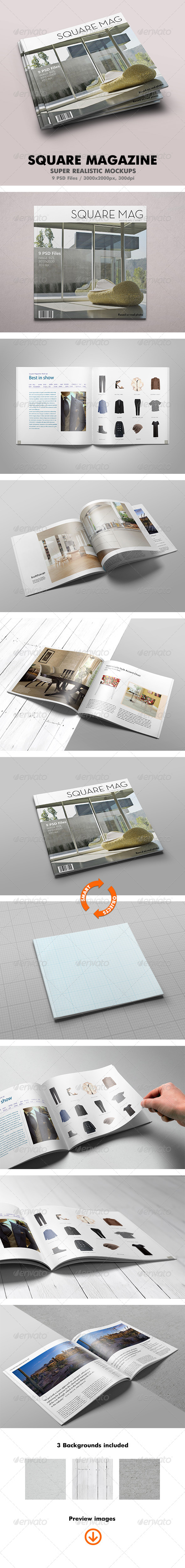 GraphicRiver Square Magazine Mock-Up 6835795