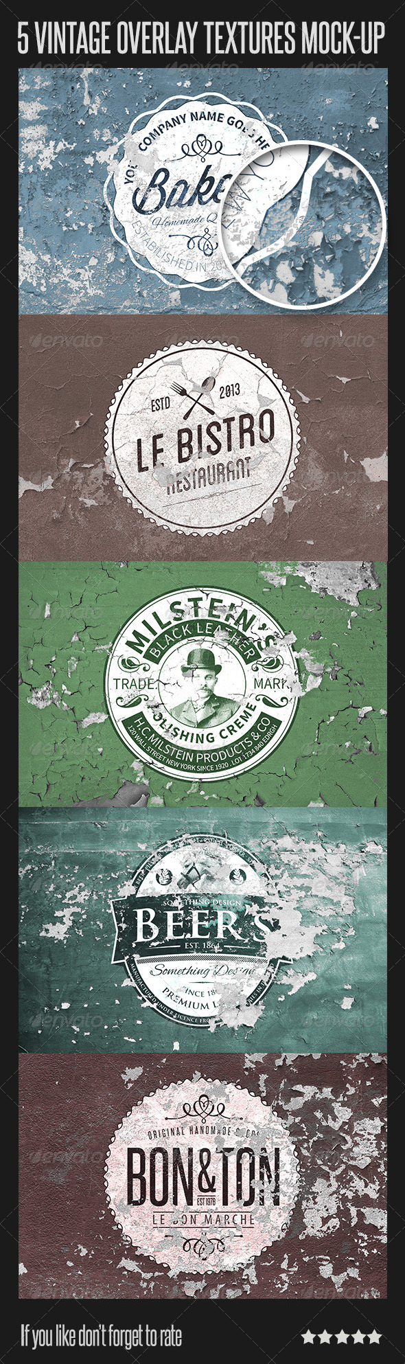 GraphicRiver 5 Vintage Overlay Mock-up 6812898