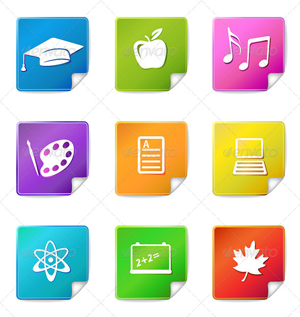 GraphicRiver Education Stickers Icons 6781198