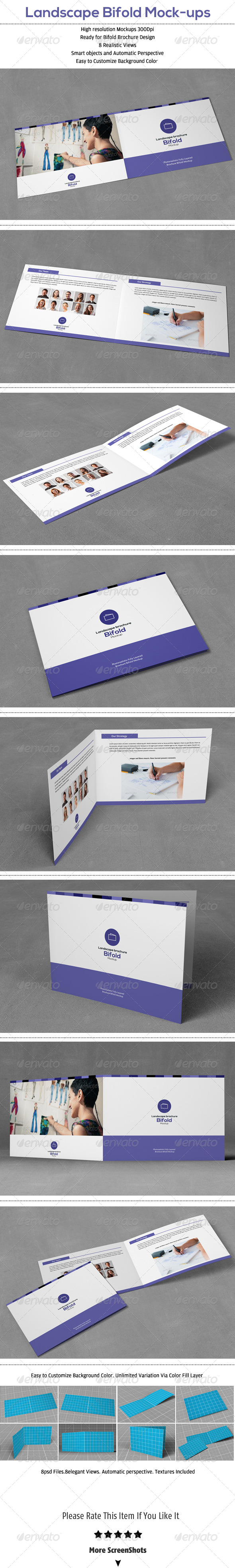 GraphicRiver Landscape Bifold Brochure Mock-Up 6837034