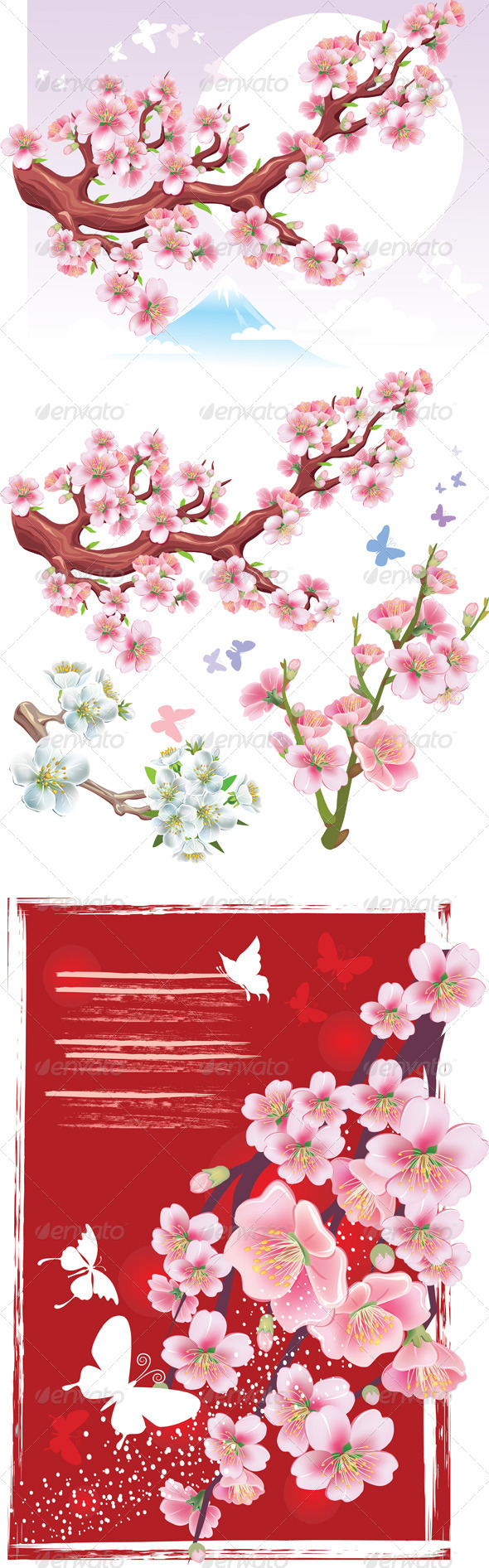 Set of Flowering Branch of Sakura