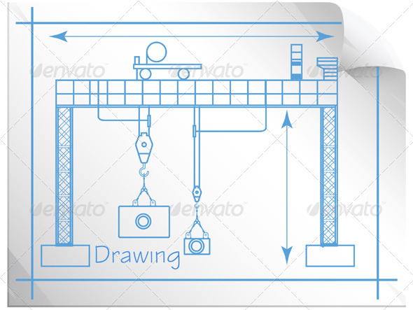Technical Drawing Gantry Crane Illustration