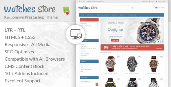 ThemeForest Watches Store Prestashop Responsive Theme 6837080
